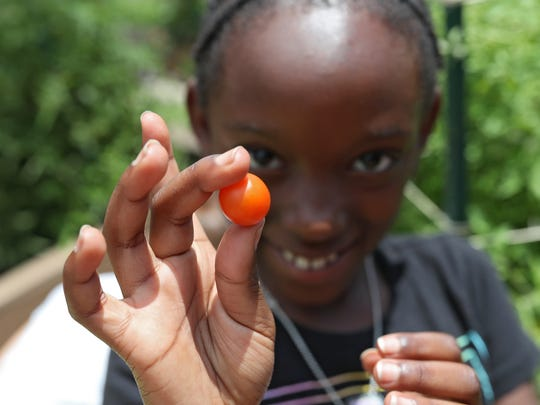 Zuri Kabwogi, 8, shows off a freshly plucked cherry