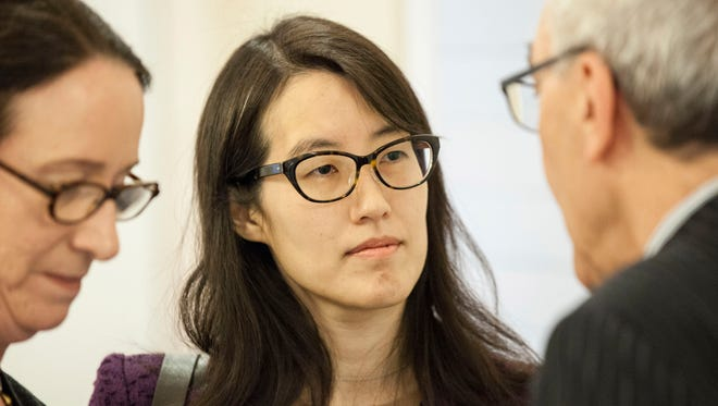 Ellen Pao, seen here talking with attorneys Therese Lawless and Alan Exelrod at the San Francisco Civic Center Courthouse following a court appearance in 2015, is one of the Asian American women who has led the push for greater diversity in the technology industry.