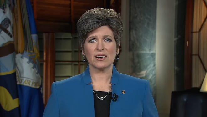 U.S. Sen. Joni Ernst, R-Iowa, delivers the Republican response after President Obama's State of the Union Address, on Capitol Hill Jan. 20, 2015, in Washington.