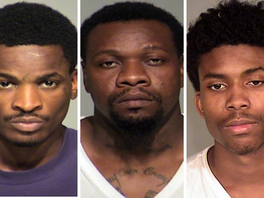 Tony Powell Jr. (left), Otha Brown (center) and Damonta Jennings (right) are charged in the shooting death of 9-year-old Za'Layia Jenkins in Milwaukee.