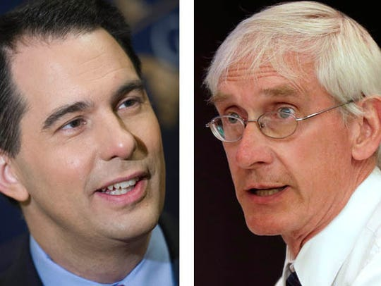 Gov.  Scott Walker (left) and state Superintendent