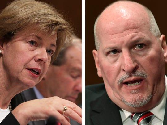 U.S. Sen. Tammy Baldwin (left) and Scott Mugno, nominee