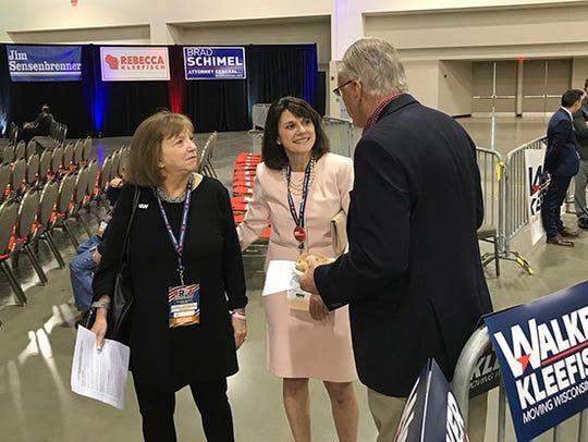 U.S. Senate candidate Leah Vukmir (center) speaks with