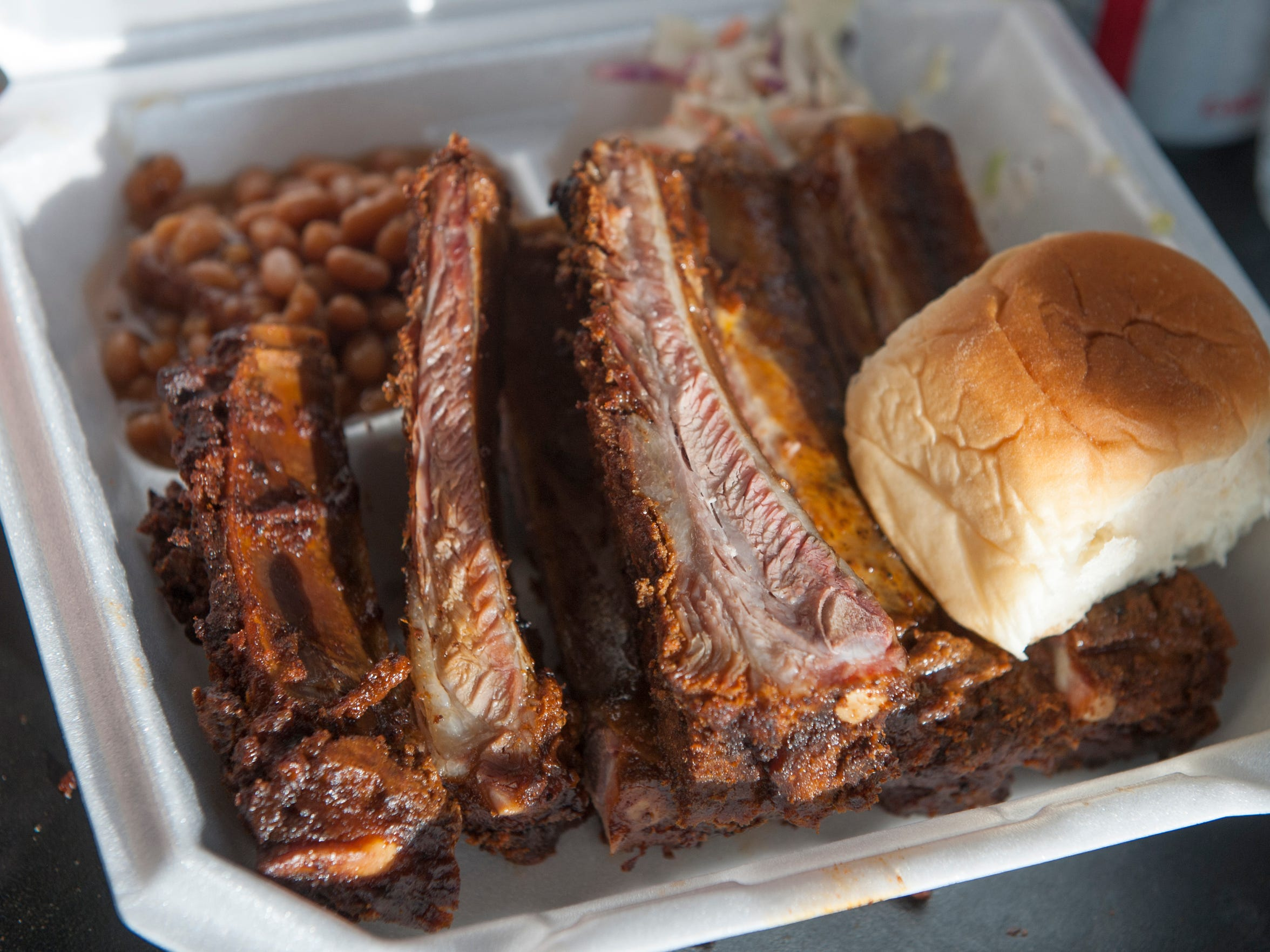 A freshly made rib platter is ready for hungry customers of the Butch's Smack Your Lips BBQ food truck during a June 4 event in Maple Shade.