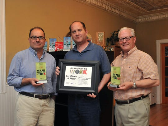Raritan Borough-based Christensen Tamburri Communications was the recipient of two first place and three awards at the recent NJ Ad Club Awards Ceremony. Pictured are agency partners Bob Tamburri, left, and Don Christensen, flanking Creative Supervisor Michael Triano.