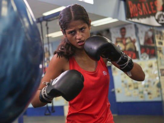 Gabriela Fundora trains at the Coachella Valley Boxing