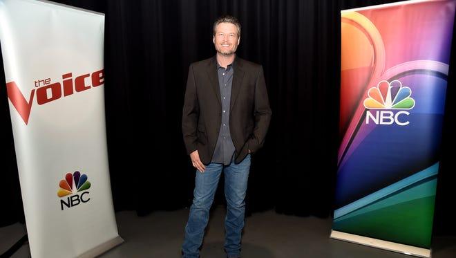 "Blake Shelton poses for a photo during NBC's ""The Voice"" Season 13 on November 20, 2017 in Universal City, California."