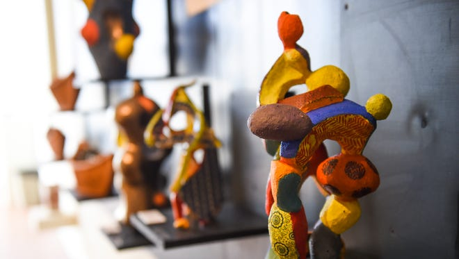 Art exhibits by University of Guam art professor Lewis Rifkowitz are displayed at the Fine Arts Faculty Biennial in the Isla Center for the Arts, Jan. 2, 2018.