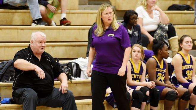 Benton coach Mary Ward gets assistant from longtime Bossier Parish coach Richard Cox during Tuesday's game at Huntington.