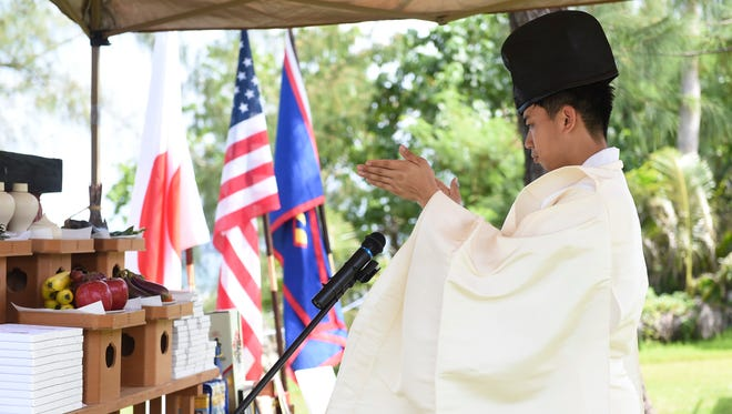 A Shinto ritual prayer is carried out by a Yasukuni Jinjya high priest at the Guam Chinkon Shrine during the Guam World War II Peace Memorial Service at Adelup, July 28, 2018.