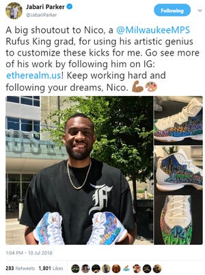 Jabari Parker posted a picture with a pair of custom-made shoes by 2018 Rufus King High School graduate Nico Molinaro.