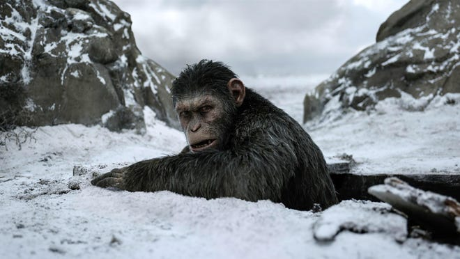 "This image released by Twentieth Century Fox shows a scene from ""War for the Planet of the Apes."""
