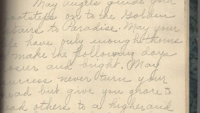 Heirloom Archaeology founder Chris Hodge found an 80-year-old autograph book in an antique store. This is a passage written in the book, which was returned to Tracie Bouchard-Reeves, the great granddaughter of who helped pen the book.