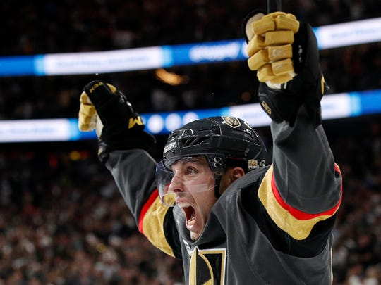Vegas Golden Knights left wing David Perron celebrates his goal during the second period in Game 5 of the NHL hockey Stanley Cup Finals against the Washington Capitals on Thursday, June 7, 2018, in Las Vegas. (AP Photo/John Locher)