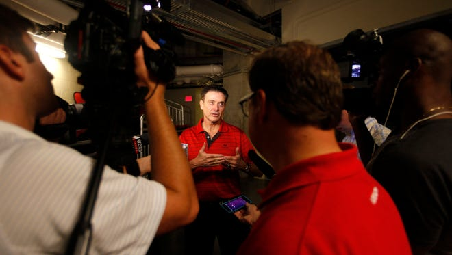 University of Louisville basketball coach Rick Pitino spoke to the media after taling to the kids at the Robbie Valentine basketball camp.  July 28, 2015.