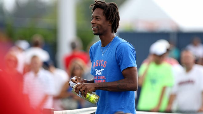 Gael Monfils of France takes the court for practice Monday during the Western & Southern Open at the Lindner Family Tennis Center in Mason.