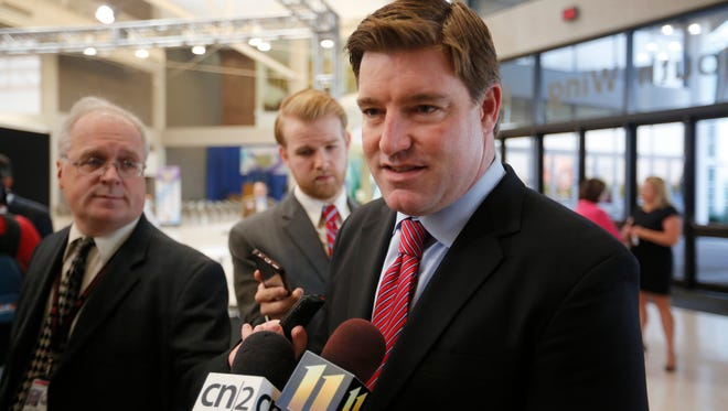 Kentucky Attorney General and demcratic candidate for governor, Jack Conway spoke to the media bexfore the Kentucky Ham Breakfast a the state fair. Aug. 27, 2015.