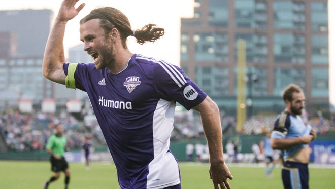 Louisville City FC forward Matt Fondy celebrates following his first of what would become three goals in the first half against Harrisburg City Islanders on Wednesday night. Sept. 3, 2015