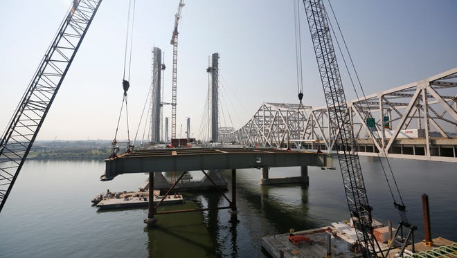 Here's one of the gaps in the roadway as the new downtown bridge inches to completion. Sept. 3, 2015.
