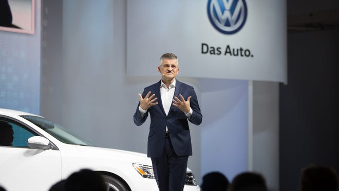 Michael Horn reportedly has been ousted as president and CEO of Volkswagen Group of America. He is shown here  introducing the new Volkswagen Passat at the Brooklyn Navy Yard, on Monday.