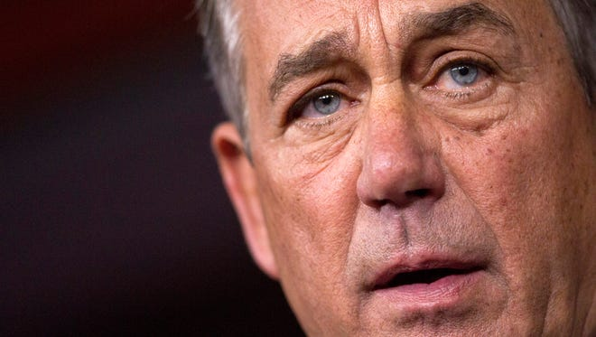 House Speaker John Boehner of Ohio speaks during a news conference on Capitol Hill in Washington, Friday, Sept. 25, 2015. In a stunning move, Boehner informed fellow Republicans on Friday that he would resign from Congress at the end of October, stepping aside in the face of hardline conservative opposition that threatened an institutional crisis.