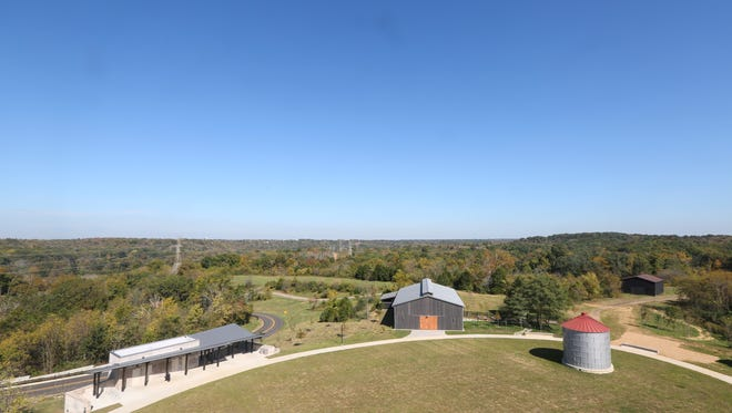 An overview of the The Parklands of Floyd's Fork Turkey Run Park facilities and green area from the top of lookout at the Brown-Forman Silo Center. Oct. 7, 2015