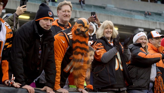 Bengals fans cheer as the Bengals leave the field after defeating the Rams 31-7 at Paul Brown Stadium Sunday November 29,  2015.