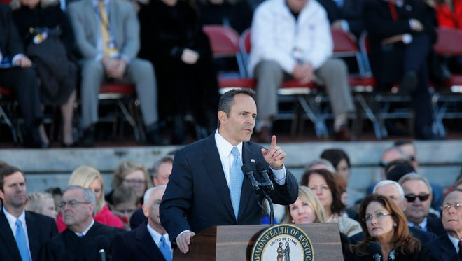 Governor Matt Bevin is seen giving his inauguration speech on the steps of the Capitol building in Frankfort. DEc. 8, 2015.