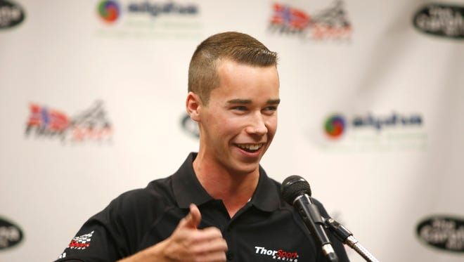 Louisville native Ben Rhodes held a press conference today to announce that he will be driving for the ThorSport Racing team in the 2016 NASCAR Camping World Truck Series.  Dec. 15, 2015.