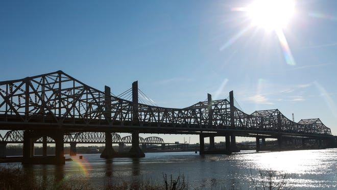 A view of the John F. Kennedy Memorial Bridge from Jeffersonville, Ind. on Thursday morning. Jan. 13, 2016