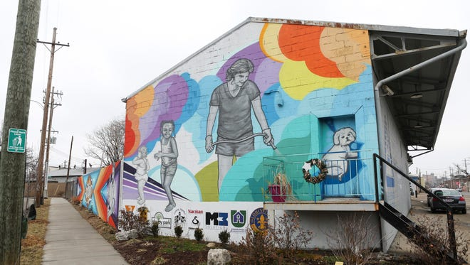 Another view of the Three Points mural at the intersection of Goss Avenue and Logan Street in the Shelby Park neighborhood.