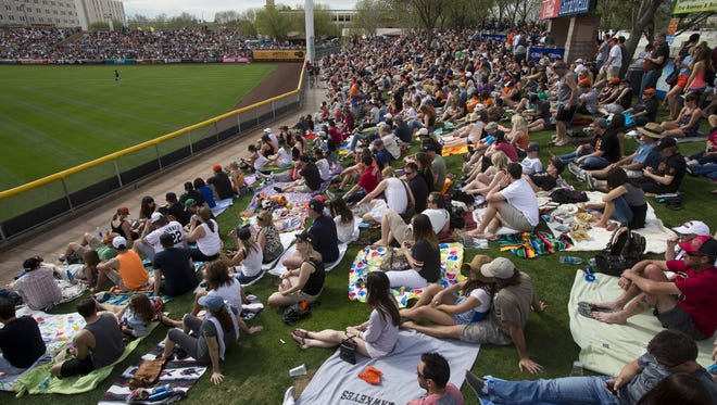 Cactus League fans fill the outfield lawn at Scottsdale Stadium, spring-training home of the San Francisco Giants. A huge new LED scoreboard is coming in time for 2016 spring play.