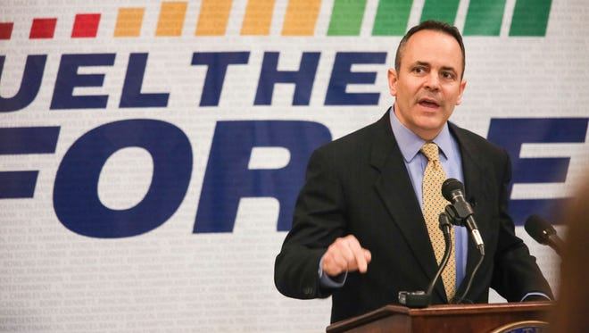 Kentucky Gov. Matt Bevin addresses a packed crowd of education officials and KCTCS employees in the Capitol Rotunda on Thursday as he defends his planned budget cuts to the state's community colleges. Feb. 18, 2016