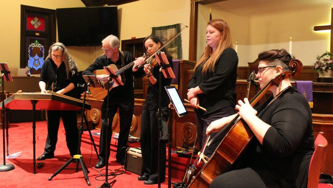 Red River Breeze, comprised of (from left) Stephanie Taylor, David Magers, Melanie Beck, Sarah Clark and Esther Sooter, played at Erin United Methodist Church.