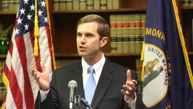 Kentucky Attorney General Andy Beshear announced today that he is suing Gov. Matt Bevin over higher education budget cuts. April 11, 2016.
