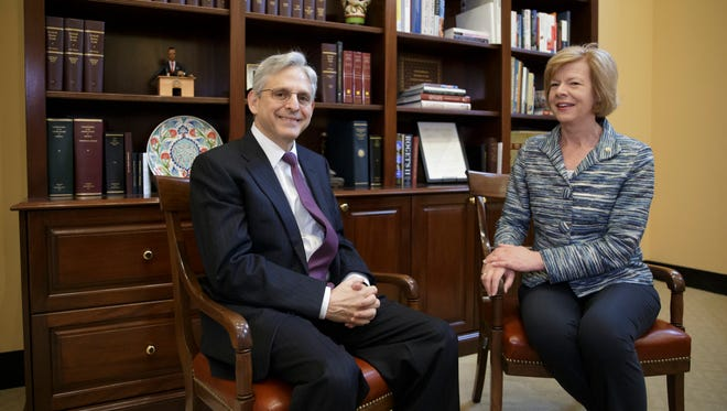 Judge Merrick Garland, President Barack Obama''s choice to replace the late Justice Antonin Scalia on the Supreme Court, meets with Sen. Tammy Baldwin, D-Wis., on Capitol Hill in Washington, Thursday, April 14, 2016.