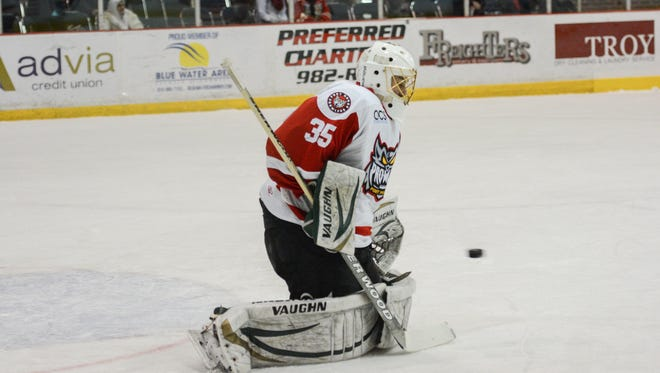 Port Huron Prowlers goaltender Dan McWhinney makes a save during postseason play.