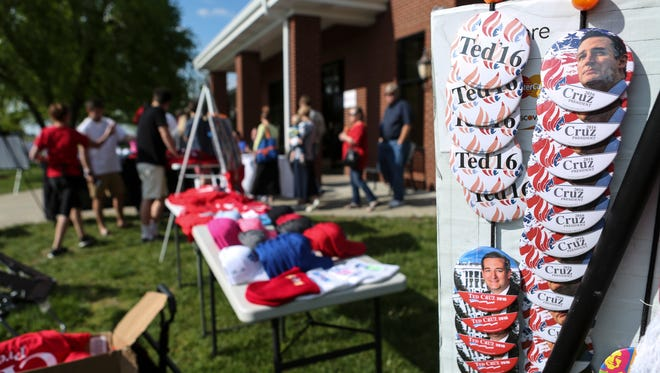 Ted Cruz memorabilia outside the Huber's Orchard and Winery rally location in Borden, Ind. on Monday. April 25, 2016