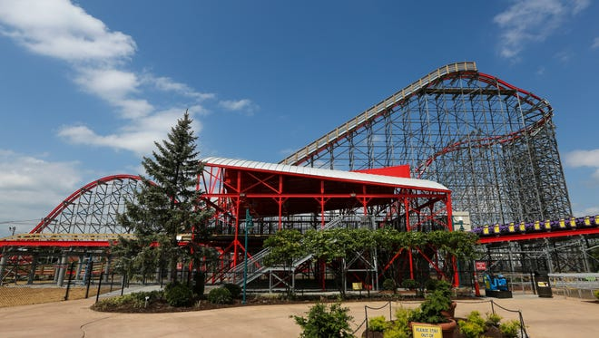 A view of Kentucky Kingdom's new roller coaster Storm Chaser gives a glimpse of the thrills ahead for visitors. The park opens for business Saturday.