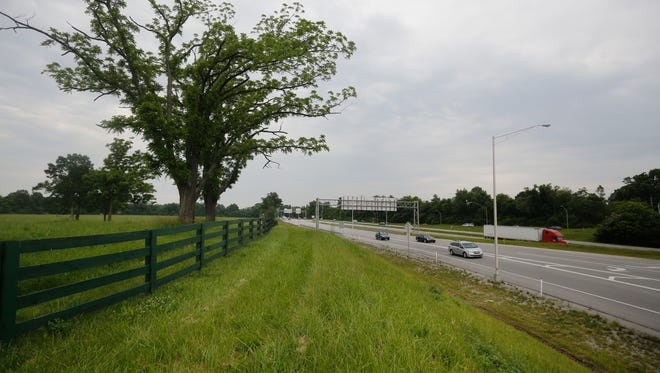The site of the new VA hospital, with the Watterson Expressway on the left. May 25, 2016.