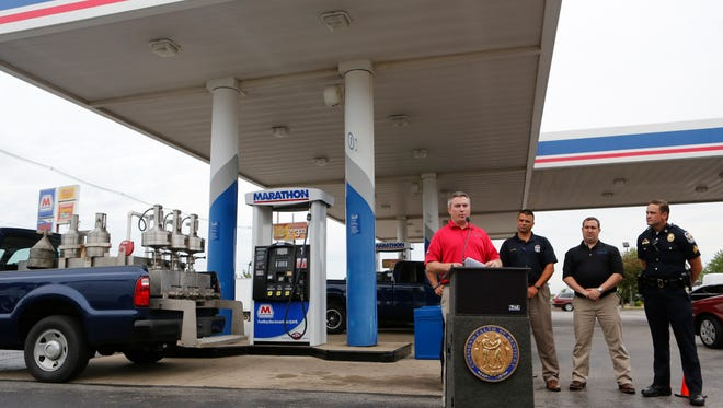 Kentucky Commissioner of Agriculture Ryan Quarles discussed the use of illegal skimmers, which steal customer's credit card information while purchasing gas. June 25, 2016.