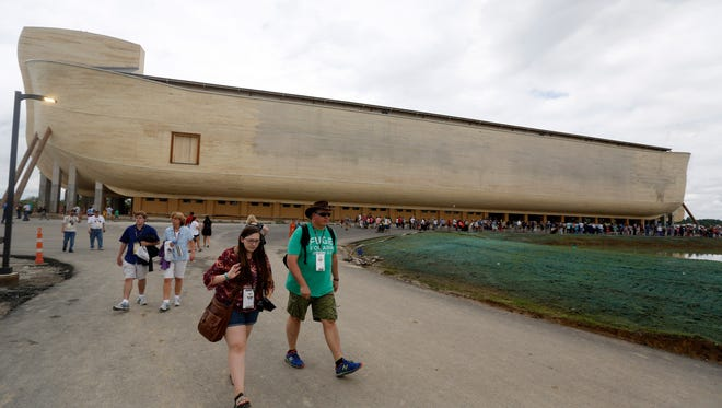 People left the Ark Encounter after getting an early preview of Kentucky's newest tourist attraction. July 5, 2016.