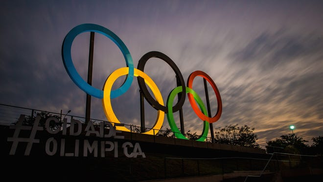 View of the Olympic rings placed at Madureira Park, on July 19, 2016 in Rio de Janeiro, Brazil. The Rio Olympic Games run from August 5-21.
