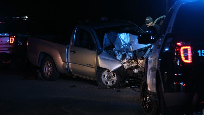 A truck crashed into a utility pole at the intersection of Lyman Avenue and Briggs Street in Burlington on Sunday night following a police pursuit.
