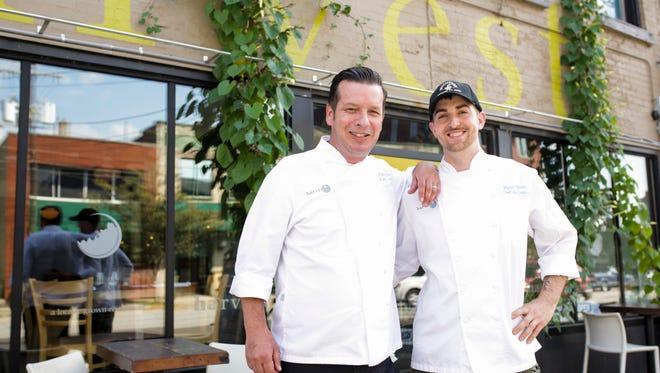 Harvest chef Patrick Roney, left, and chef de cuisine Ryan Smith outside the Harvest restaurant in NuLu on East Market Street. Sept. 6, 2016