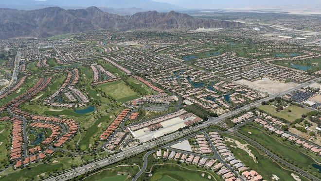 Residential developments and golf courses spread out across the Coachella Valley south of La Quinta.