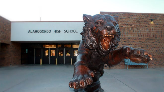 In this file photo, Alamogordo High School's new tiger statue sits in front of the school.