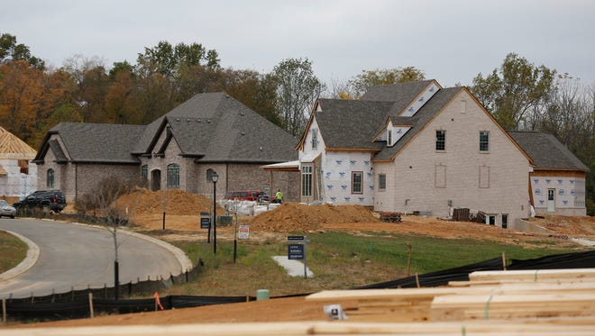 New homes under construction in the Poplar woods subdivision where the 2017 Homearama will be held. Oct. 27, 2016.