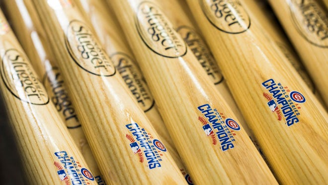 Logos on the Chicago Cubs World Series Champions bats at the Louisville Slugger Museum on Thursday. Nov. 3, 2016