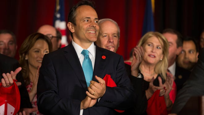 Ky Governor Matt Bevin looks on during the Republican event at the Galt House in downtown Louisville on election night. Nov. 8, 2016